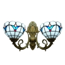 Simple Tulip Theme Tiffany Two Light Wall Sconce with Dome Shaped Glass Shade in White, 16-Inch Wide