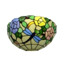12-inch Vintage Pastoral Stained Glass Tiffany Romantic Rose Wall Lamp