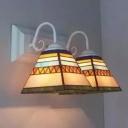 Mediterranean Tiffany White Finish Lampbase Indoor Hallway Sconce Lighting