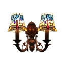 Red Dragonfly Tiffany Style Stained Glass Sconce Lighting, 2 Light