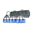 Moderen Tiffany Style Blue & White Stained Glass 3-Light Wall Lamp,24