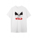 Comic WILD Letter Hand Printed Round Neck Short Sleeve Graphic Tee