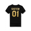 SISTER 01 Printed Round Neck Short Sleeve Tee