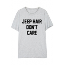JEEP HAIR Letter Printed Round Neck Short Sleeve Tee