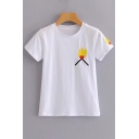 Chic Match Fire Flame Embroidery Round Neck Short Sleeves Leisure Tee