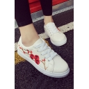 Vogue Floral Embroidery Lace-up Fastening Sports Gym Shoes Sneakers