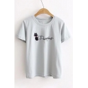 Letter Cat Embroidered Round Neck Short Sleeve Comfort Tee