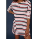 Comfort Leisure Striped Printed Round Neck 3/4 Length Sleeve Mini A-Line Dress