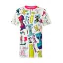 Abstract Letter Print Round Neck Short Sleeves Summer T-shirt