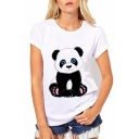 Cute Panda Cartoon Print Round Neck Short Sleeves Casual Tee