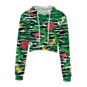Digital Leaf Floral Printed Long Sleeve Leisure Crop Hoodie