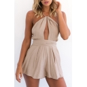 Sexy Hollow Out Halter Plain Bow Tied Open Back Romper