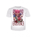 Hot Game Cartoon Letter EARN YOUR EXISTENCE Print Short Sleeve Summer Leisure Tee
