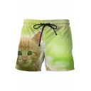 Cute Kitty Cat Print Drawstring Waist Leisure Casual Sports Shorts