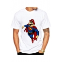 Cartoon Game Character Printed Round Neck Short Sleeve Tee