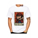 JUMP Letter Cartoon Character Printed Round Neck Short Sleeve Tee