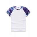 Color Block Galaxy Printed Raglan Short Sleeve Round Neck Tee