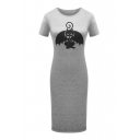 Bat Cat Printed Round Neck Short Sleeve Comfort Midi T-Shirt Dress