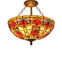 Tiffany Double Light Gorgeous Inverted Pendant Light in Baroque Style, 12/16-Inch Wide Glass Shade