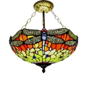 Classic Art Tiffany-Style Semi Flush Mount with Colorful Dragonfly Pattern, 16