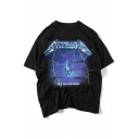 Electric Chair Letter Printed Round Neck Short Sleeve Tee