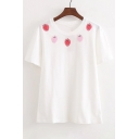 Strawberry Embroidered Round Neck Short Sleeve Tee