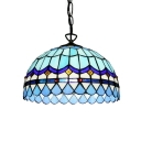 Dome Shaped Ceiling Light with Blue Glass Shade in Tiffany Nautical Style, 1-Light 16