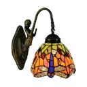 Lamp Base Dragonfly Pattern Glass Shade 6