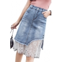 Chic Floral Lace Insert Zipper Fly Midi A-Line Denim Skirt
