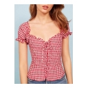 Classic Retro Plaid Printed V Neck Short Sleeve Lace Up Crop Blouse