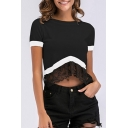 Color Block Lace Insert Round Neck Short Sleeve Crop Tee