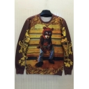 Digital Cartoon Bear Printed Round Neck Long Sleeve Pullover Sweatshirt