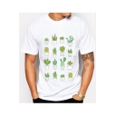 Potting Cactus Print Round Neck Short Sleeve Tee