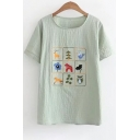 Retro Deer Bird Owl Floral Embroidery Round Neck Short Sleeves Summer T-shirt