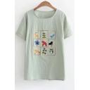 Retro Deer Bird Owl Floral Embroidery Round Neck Short Sleeves Summer T-shirt