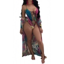 New Fashion Leopard Printed Spaghetti Straps One Piece with Tunic Long Sleeve Coat Swimwear