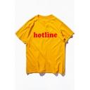 Natural Basic Letter HOTLINE Print Round Neck Short Sleeves Summer T-shirt