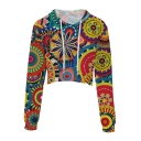 Digital Folk Style Floral Printed Long Sleeve Crop Hoodie