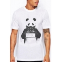 Cool Panda Letter Print Round Neck Short Sleeves Casual Tee
