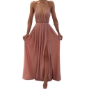 Sexy Plunge Neck Spaghetti Straps Sleeveless Plain Split Front Maxi Cami Dress