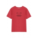 Cute Cat Embroidered Round Neck Short Sleeve Leisure Comfort Tee