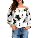 Floral Printed Off The Shoulder Long Sleeve Elastic Waist Blouse