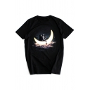 Moon Astronaut Printed Round Neck Short Sleeve Leisure Tee