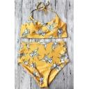 Holiday Floral Printed Halter Sleeveless High Waist Shorts Bikini