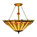 3-Light Tiffany Art Glass Semi-Flush Ceiling Light in Geometric Style, 22