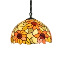 Pendant Light with Sunflower Pattern, Tiffany Vintage 12