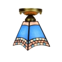 6-Inch Wide Tiffany Style Flush Mount Ceiling Light in the Mediterranean Style, Blue Glass Shade