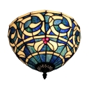 12-Inch Wide Tiffany Art Flush Mount Lamp Up Lighting Baroque Style with Stained Glass Shade in Blue, 2-Light