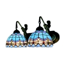 Baroque Style 2 Light Belle Supported Dome Shaped Wall Light with Tiffany Blue Glass Shade
