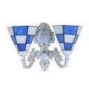 European Tiffany Style 2-Light Inverted Wall Sconce with White Lampbase, 14